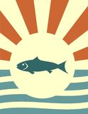 Sun rays backdrop with fish Royalty Free Stock Image