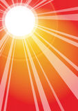 Sun rays background. Sun rays and sun in gradient  background, vector Royalty Free Stock Images