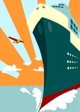 Sun rays background and passenger ship Stock Photos