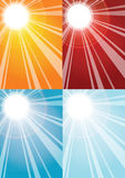 Sun rays backgrounds. Sun rays and sun in gradient  backgrounds, vector Stock Photo