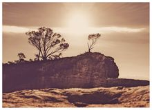 Sun rays backlight Hanging Rock royalty free stock images