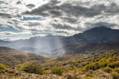 Sun rays beasming onto autumn woodland in valley in Corsica Royalty Free Stock Photography