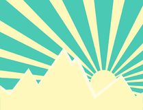 Sun rays behind the mountain. Sun rays with yellow and green retro color behind the mountain,Vector illustration Stock Images