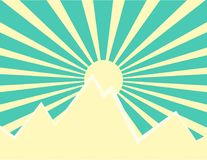 Sun rays behind the mountain. Sun rays with yellow and green retro color behind the mountain,Vector illustration Royalty Free Stock Images