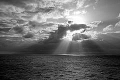 Sun Rays in Black and White. Caribbean Sea Stock Photos