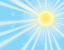 Sun rays in blue sky.Vector image Stock Images