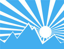 Sun rays with blue and white behind the mountain. Sun rays with blue and white retro color behind the mountain,Vector illustration Royalty Free Stock Photo