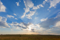 Sun Rays through the clouds. South Africa Stock Photo