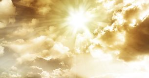 Sun rays. In cloudy sky Royalty Free Stock Photo