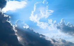 Sun rays. Cloudy stormy sky with sun rays Stock Photography