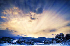 Sun Rays with Dramatic Sky.Winter Landscape Stock Photos