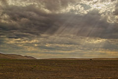 Sun rays on dry land Royalty Free Stock Photo