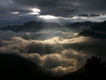 Sun rays, early morning. Sun rays on cloudy sky Stock Photo