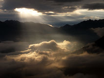 Sun rays, early morning. Sun rays on cloudy sky Stock Photos