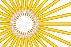 Sun rays figure from yellow pencils Stock Photos