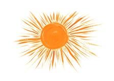 Sun rays flat icon, drawn closeup silhouette isolated on white background. Artistic logo design