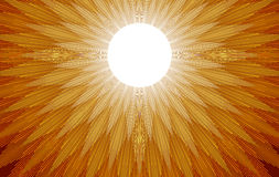 Sun Rays. Gold and yellow light rays spread out when the sun rises Royalty Free Stock Photography