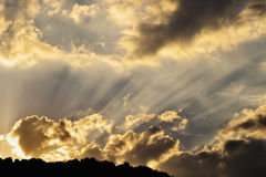 Sun rays on golden sky Stock Photography