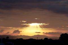 Sun Rays in Honduras Sunset stock photo
