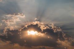 Sun rays illuminate the sky Royalty Free Stock Photography