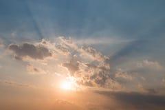 Sun rays illuminate the sky Stock Image