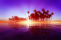 Sun rays inside coconut island. Pink sun rays inside coconut island on purple tropic sea Stock Photo