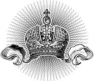 Sun Rays and King Crown. Black and White Sun Rays and King Crown Stock Photography