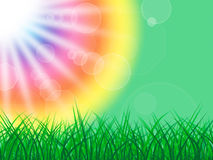 Sun Rays Means Green Grass And Beam Stock Photos