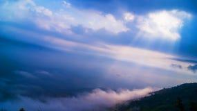 Sun rays mountain landscape Stock Photo