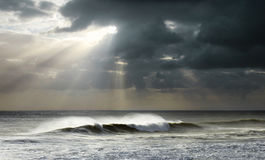 Sun Rays on Ocean Stock Photography