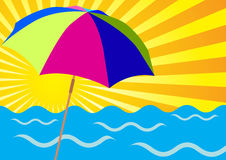 Sun Rays, Ocean and Beach Umbrellas Royalty Free Stock Photography