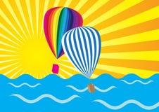 Sun Rays, Ocean and Hot Air Balloons. Abstract Background - Yellow Sun Rays, Ocean Waves and Hot Air Balloons / Vector royalty free illustration