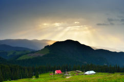 Sun rays over the mountains Royalty Free Stock Photography