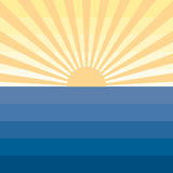 Sun with rays and sea Marine creative background Royalty Free Stock Images