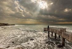 Sun rays seascape Royalty Free Stock Images