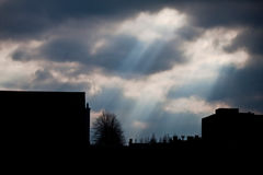 Sun rays shining on the city silhouette Royalty Free Stock Photo