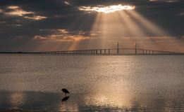 Sun Rays Shining on Florida Sunshine Skyway Bridge Royalty Free Stock Photography