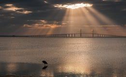 Sunshine skyway Bridge at Dawn. Early Morning Sun Rays Shining on Sunshine Skyway Bridge royalty free stock photography