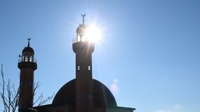 Free Sun Rays Shining Through The Windows Of The Mosque Tower Stock Images - 210528424