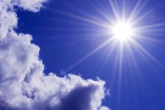 Sun rays in the sky royalty free stock photo
