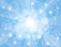 Sun Rays with Sky Blue Background. Sun Rays on Sky Blue Bokeh Circles and Blurred Background Illustration Royalty Free Stock Image