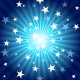 Sun Rays and Stars. Blue Abstract Background Illustration, Vector Royalty Free Stock Images