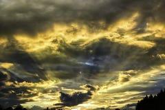 Sun rays at Sunset Stock Image