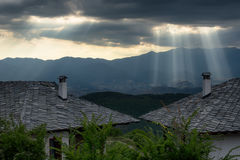 Sun rays before sunset at Leshten village, Bulgaria Stock Images