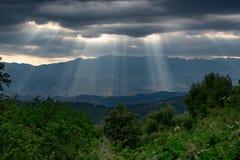 Sun rays before sunset at Leshten village, Bulgaria Royalty Free Stock Photography
