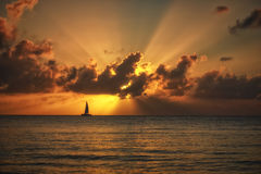 Sun Rays at Sunset in a tropical location. Sun Rays at Sunset in Cozumel Mexico Royalty Free Stock Photos