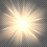 Sun rays on transparent background royalty free illustration
