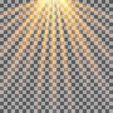 Sun rays on transparent background. Sunlight. Stock Images