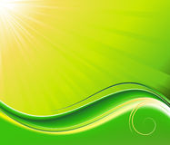 Sun-rays and wave green background Royalty Free Stock Photo