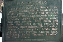 Sun Record Studio opened by rock-and-roll pioneer Sam Phillips in Memphis Tennessee USA Royalty Free Stock Photography